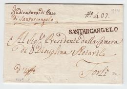 Italy Italia Papal States Stato Pontifico 1809 SANTARCANGELO In Black Emilia Romagna To Forli (q211) - Italia