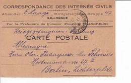 Carte De Franchise Correspondance Des Internés Civils Ile Longue Par Préfecture Quimper - Marcophilie (Lettres)