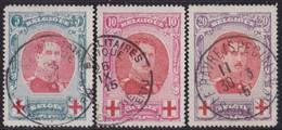 Belgie  .   OBP   .    132/134    .         O   .   Gebruikt  .   /    .   Oblitéré - 1914-1915 Croix-Rouge