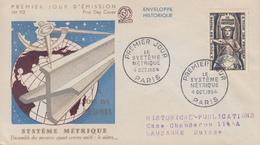 Enveloppe  FDC  1er  Jour    FRANCE  Le  SYSTEME  METRIQUE    1954 - FDC