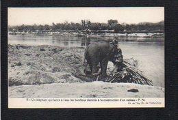 Cambodge Indochine,Viet Nam / Un Eléphant Qui Lance à L'eau Les Bambous Destinés à La Construction D'un Radeau - Cambodia