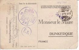 Carte De Franchise Kriegsgefangenensendung Accusé Réception Colis Mairie Dunkerque - Marcophilie (Lettres)