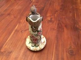 Vase Art Nouveau Céramique Et Bronze Femme Nu Erotique - Porselein & Ceramiek