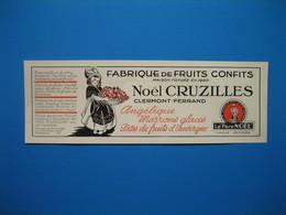 (1936) Fabrique De Fruits Confits NOËL CRUZILLES à Clermont-Ferrand - Advertising