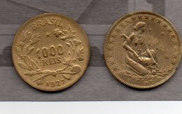 Brésil - 2 Pièces De 1000 Reis 1927 - Brésil