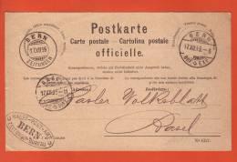 Carte Postale Officielle  Obl. Bern Zeitungen 20.07.1892-> Basel - Stempel Bern Haupt-Post-Amt + Zeitungs-Bureau+ - Interi Postali