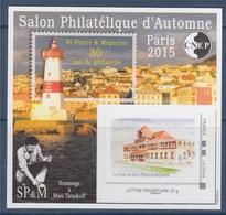 = Bloc CNEP N°70 Paris 2015 Salon Philatélique Automne Saint Pierre Et Miquelon Lettre Prioritaire Adhésif N°03296 Verso - CNEP