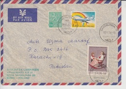 Finland Airmail Cover To Pakistan   (Red-2143) - Finland
