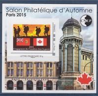 = Bloc CNEP N°69 Paris 2015 Salon Philatélique Automne Engagement Des Canadiens Lettre Prioritaire Adhésif N°04304 Verso - CNEP