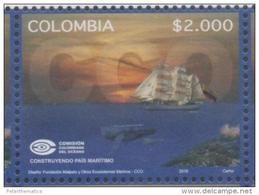 COLOMBIA,  2016, MNH, COLOMBIAN COMMISSION OF THE OCEANS, SHIPS, WHALES,1v - Walvissen