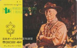 Télécarte Japon / 290-0852 - SCOUTISME - SCOUT - BADEN POWELL / HIBOU OWL - SCOUTING Japan Phonecard - PFADFINDER - 186 - Characters