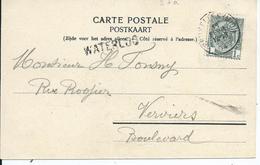 Zichtkaart Waterloo Met OCB 53 - Afstempeling BRUXELLES(MIDI) - Lijnstempel WATERLOO - 1893-1907 Armoiries