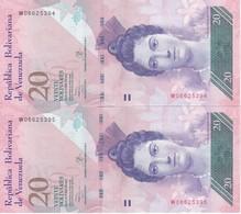 PAREJA CORRELATIVA DE VENEZUELA DE 20 BOLIVARES 29 DE 0CTUBRE DEL 2013 SIN CIRCULAR-UNCIRCULATED  (BANK NOTE) TURTLE - Venezuela