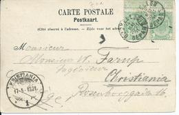 Zichtkaart Schaarbeek Met OCB 56 Verstuurd Naar Noorwegen - 1893-1907 Wapenschild