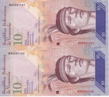 PAREJA CORRELATIVA DE VENEZUELA DE 10 BOLIVARES 3 DE FEBRERO DEL 2011 SIN CIRCULAR-UNCIRCULATED  (BANK NOTE) AGUILA - Venezuela
