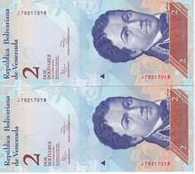 PAREJA CORRELATIVA DE VENEZUELA DE 2 BOLIVARES 31 DE ENERO DEL 2012 SIN CIRCULAR-UNCIRCULATED  (BANK NOTE) DELFIN - Venezuela