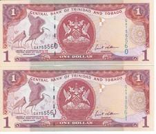 PAREJA CORRELATIVA DE TRINIDAD Y TOBAGO DE 1 DOLLAR DEL AÑO 2006 SIN CIRCULAR-UNCIRCULATED (IBIS-PAJARO-BIRD) - Trinidad Y Tobago