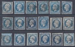 Frankreich Lot 18 Marken Napoleon Gestempelt Farben Ansehen !!!!!!!!! - 1853-1860 Napoléon III.