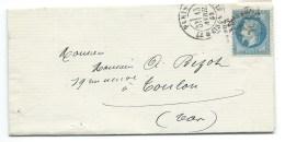 N° 29 BLEU NAPOLEON SUR LETTRE / PARIS POUR TOULON / 1869 - 1849-1876: Classic Period