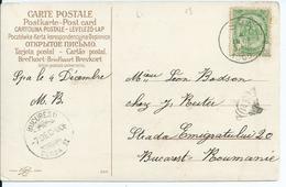 Fantasiekaart Met OCB 56 - Afstempeling SPA  Naar Roemenië - 1893-1907 Armoiries
