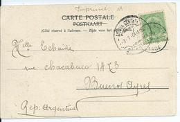 Fantasiekaart Met OCB 56 - Afstempeling VILLERS-LA-VILLE  Naar Argentinië - 1893-1907 Wapenschild