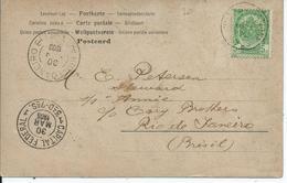 Fantasiekaart Met OCB 56 - Afstempeling ANVERS(STATION)  Naar Brazilië - 1893-1907 Armoiries