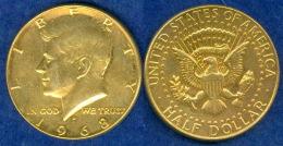 USA 1/2 Dollar Kennedy 1969 Vergoldet - Vereinigte Staaten