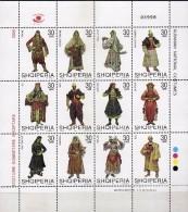 Albania Stamps 2005. National Costumes Mi. 3060-71. Set Sheet MNH - Albania