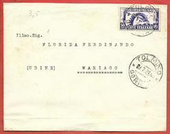 LETTERA VG ITALIA - ORDINARIA Fiera Di MILANO - 12 X 15 - ANN. 1936 TOLMINO - MANIAGO - 1900-44 Victor Emmanuel III