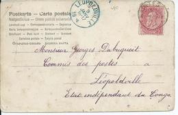 Fantasiekaart  Met OCB 58 --afstempeling SAINTES Naar Belgisch Congo - COBA 15 - 1893-1800 Fijne Baard