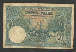 BELGIAN CONGO 20 FRANCS 1946 PICK # 15E CIRCULATED FINE  BANKNOTE RARE - [ 5] Belgisch Kongo