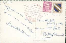 FRANCE CP MENTON TYPE GANDON 1954 POUR POITIERS + CACHET RARE CI-APRES TB - France