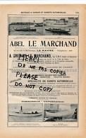 Constructeur Bateau à Vapeur Canot Automobile ABEL LE MARCHAND à LE HAVRE / Fabrique De Colis Postaux Sevessand Frères - Transports