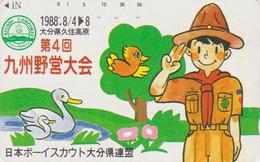Télécarte Japon / 110-011 - SCOUTISME - BOY SCOUT & Cygne Swan Bird - SCOUTING Japan Phonecard - PFADFINDER - 195 - Characters