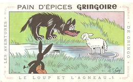 Buvard GRINGOIRE Pain D'Epices GRINGOIRE Le Loup Et L'agneau N°1 Illustré Par COQ - Pain D'épices