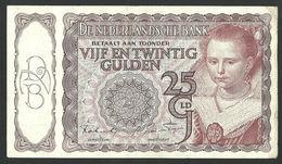 NETHERLANDS 25 GULDEN 1944, HET PRINSESJE II, 12 AO, VF+/ZF+, TYPE 1 P-60 - [2] 1815-… : Kingdom Of The Netherlands