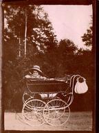 Tirage Photo Albuminé Landau & Poussette - Charmant Bébé Sortant Sa Frimousse Du Landau Vers 1890/1900 - Objects