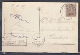 Postkaart Van Bouillon Naar Charleroi - 1915-1920 Albert I