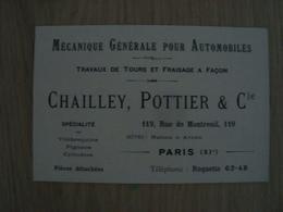 CARTE DE VISITE CHAILLEY POTTIER & Cie MECANIQUE POUR AUTOMOBILES PARIS - Cartoncini Da Visita