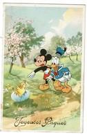 Carte Joyeuses Pâques - Walt Disney Coloprint 54180/4 - Mickey Mouse / Donald Duck - Circulée  - 2 Scans - Disney