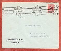Vordruckbrief Daarnhouwer Hamburg, EF Ziffer Mit Aufdruck, MS Band Striche, Nach Dresden 1923 (57413) - Briefe U. Dokumente