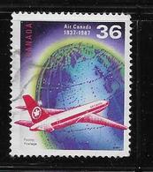 CANADA, 1987,USED, #1145, AIR CANADA 50th ANNIVERSARY, JET OVER GLOBE - 1952-.... Règne D'Elizabeth II