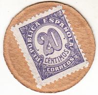 ESPAÑA 1938 .  20 CENTIMOS SELLO-MONEDA. PAPEL GRIS .GREY  PAPER.NUEVA SIN CIRCULAR. MINT UNCIRCULATED  (ROJOEY) - [ 3] 1936-1939 : Guerra Civil