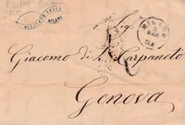 PRE229 - 8 Marzo 1862 - Lettera Con Testo Da Milano A Genova, Pagata 95 Decimi E Tassata 2 Decimi A Tampone- . - 1861-78 Victor Emmanuel II.