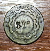 """Jeton Au Module De La 10 Centimes Bronze """"10c à Consommer - Surfrappée à 30c"""" Paris * Monnaie De Nécessité - Books & Software"""