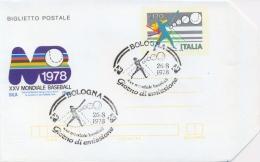 Italia 1978 Biglietto Postale 120 Lire 25° Campionato Mondiale Di Baseball A Bologna-Parma-Rimini Annullo Di Bologna - Baseball
