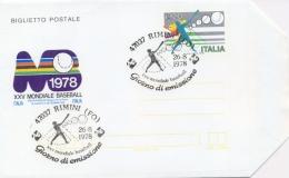 Italia 1978 Biglietto Postale 120 Lire 25° Campionato Mondiale Di Baseball A Bologna-Parma-Rimini Annullo Di Rimini - Baseball
