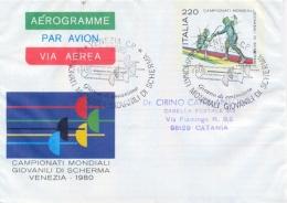 Italia 1980 Biglietto Postale Aerogramma 220 Lire Campionati Mondiali Giovanili Di Scherma Viaggiato Da Venezia - Scherma