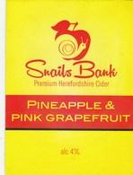 SNAILS BANK CIDER CO (HEREFORD, ENGLAND) - PINEAPPLE & PINK GRAPEFRUIT - PUMP CLIP FRONT - Signs