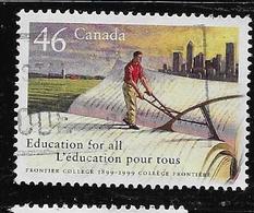 CANADA, 1999, USED # 1810, FRONTIER COLEGE Farmer Ploughing An Open Book, - 1952-.... Règne D'Elizabeth II